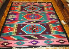 Antique hand woven Romanian tribal carpet rug from Transylvania for sale at www.greatblouses.com