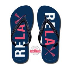 Just Relax! ;) Whether you are needing to recover from a long practice or game or wanting to rep your favorite sport our Girls Lacrosse Flip Flops are for you! LuLaLax.com