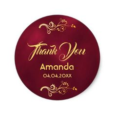 Thank you burgundy with faux gold decor classic round sticker - thank you gifts ideas diy thankyou