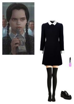 """Gonna be Wednesday addam for halloween"" by jojobabydoll123 ❤ liked on Polyvore featuring Lime Crime, Steve Madden and vintage"