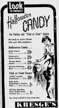 Trick or Treat Halloween Candy Advertisement. Many of these items are still around in the same packaging. Do you still have boxes of candy for trick or treat callers? Remember that car (Halloween Candy)