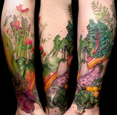 veggies with sweet pea flowers