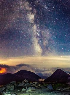 Where the sky and earth become one - Photo collage made out of 8 shots taken at Omu Peak (elev. the highest peak of the Bucegi Massif, Romania. Night On Earth, Collage Making, Night Photography, First Photo, Romania, Making Out, Northern Lights, Shots, Mountains