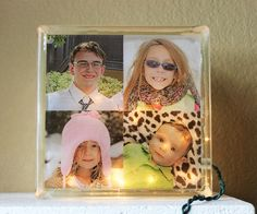 8 x 8 Inch Glass Block Photo Light Displaying Your Own Photo or Child's Artwork - pinned by pin4etsy.com