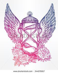 Ručne maľovaná romantickú krásny výkres presýpacie hodiny.  Vektorové ilustrácie izolované.  Tetovanie dizajn, mystický čas symbol pre vaše použitie.  - Vybrať