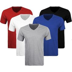 3-6 Pack Lots Men's Plain Slim Fit Plain V-Neck T-Shirts Muscle Tee Short Sleeve #Apparel99 #BasicTee