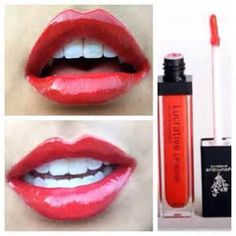 #hotRedLips with non-sticky, non-gooey lipgloss! Turn it up a notch with lipliner underneath the gloss AND lining your lips - RICH color! www.fiberlashesByRenee.com