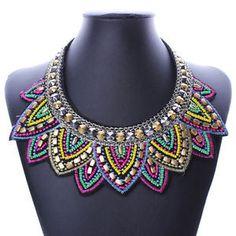 Women Bib Statement Pendant Crystal Beaded Collar Necklace