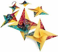 Fabric Origami Spiral Stars