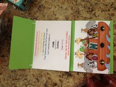 """Noah's ark invitation envelope: cut 12x12 scrapbook card stock in half to make a 6x12"""" sheet. Score a 2"""" line & 5"""" past 2"""" line. Fold & now u have an envelope/tri fold invite that perfectly fits 2 4x6 pics or invite words & a pic. I put a foam animal sticker to seal it."""