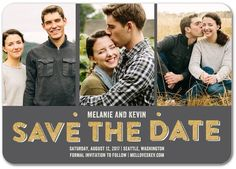 Sparkling Date - Signature White Photo Save the Date Cards - Robyn Miller - Charcoal - Gray : Front