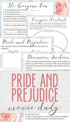 Free Pride and Prejudice movie study- contains discussion questions, comprehension questions, character analysis and more! Pride & Prejudice Movie, High School Literature, Importance Of Time Management, Homeschool Curriculum, Homeschooling, Comprehension Questions, Lesson Plans, This Or That Questions, Unit Studies