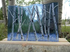 Winter Aspen Fused Glass  Sky Blue by MountinDesigns on Etsy, $85.00