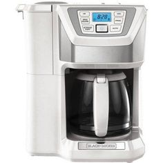 Black & Decker Mill and Brew 12-Cup Programmable Coffee Maker with Grinder, White