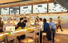 Le restaurant connecté ZA, conçu par Philippe Starck, est situé sous la canopée des Halles. Megamark est intervenu pour les films adhésifs et décors de ce café littéraire d'un nouveau genre