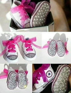Converse Crib Shoes with Swarovski Crystals and by WickedAddiction c2c89b63b
