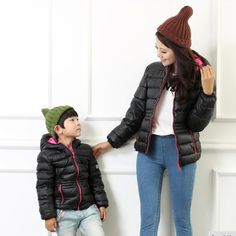 family clothes fashion Short style winter coat for boy children clothing girls Down jackets black Pink zipper