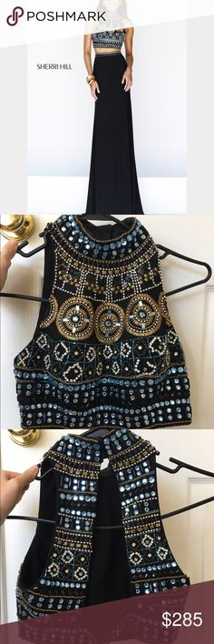 SHERRI HILL BLACK TWO PIECE PROM DRESS Two piece black beaded prom dress. Wore once, great condition. Sherri Hill Dresses Prom