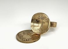 Biblical Palm Tree-Such Ancient Coin Were Discovered in Jerusalem (See Second Image), Ring for Women, Coin Ring, Coins, Palm Tree Silver Hoop Earrings, Women's Earrings, Lion Of Judah, Coin Ring, Rings For Girls, Old Coins, Coin Jewelry, Jerusalem, Beautiful Rings