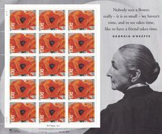 Qty of 15 Georgia O'Keeffe .32 cent unused 1996 Vintage postage stamps, These stamp are in excellent, unused, unhinged condition.