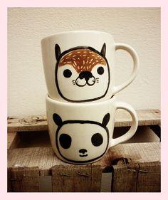 Panda and raccoon mug by • Miriam Brugmann •