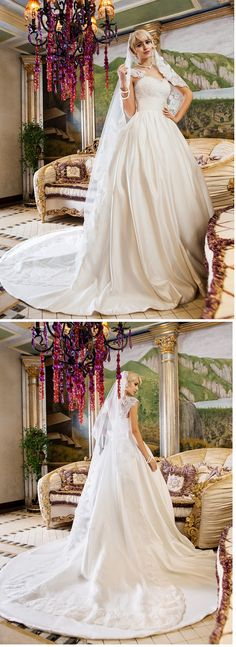 "Simply gorgeous wedding dress with a classy veil and chapel train. Would this be the one to walk you down the aisle? Remember to use coupon code ""PTL20901"" for an extra discount when you spend $100+"