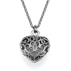 My Only One Filigree Heart Locket Necklace ($80) ❤ liked on Polyvore featuring jewelry, necklaces, accessories, colar, jewels, grey, heart locket, sterling silver heart locket, locket necklace and chain necklaces