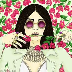 Roses illustration by Clare and the Bear. ALL RIGHTS RESERVED. #clareandthebear #clareannenield #portrait #fashion #fashionillustration #illustration #art #bohemian #ethereal #whimsical #flowers #roses #longhair #sunglasses #rose #vintage #hair #beauty #womenswear #fashiondesign #riverisland
