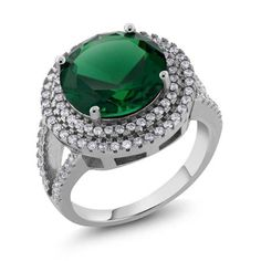 10.06 Ct Round 12MM Green Nano Emerald 925 Sterling Silver Ring - Walmart.com - size 5