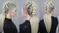 Mohawk Dutch Braid by SweetHearts Hair – Tutorial Per Capelli Mohawk Braid Styles, Curly Hair Styles, Natural Hair Styles, Braided Mohawk, Braided Hairstyles Tutorials, Box Braids Hairstyles, Hairstyles Videos, Blonde Makeup, Hair Makeup