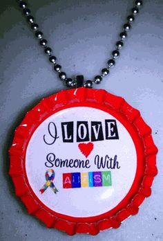 Autism Awareness bottle cap necklace, $7.99 www.shopbgd.com