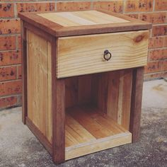 Bedside table number 1 is finished! Made from a recycled pine pallet and merbau timber scraps. Tom has run out of wood to finish the second… Reclaimed Wood Furniture, Recycled Furniture, Pallet Furniture, Furniture Plans, Rustic Furniture, Recycled Wood, Wood Projects, Woodworking Projects, Pallet Side Table