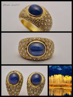 Gold ring and earrings with diamonds and sapphires Pendientes y sortija de oro amarillo con diamantes y zafiros Gold Rings, Gemstone Rings, Sapphire, Gemstones, Diamond, Earrings, Jewelry, Jewelry Box, Diamonds