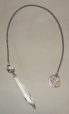 Handmade Vintage Chandelier Crystal Pendulum with pentagram - I have everything I need to copy this. Crystal Pendulum, Wiccan Crafts, Vintage Chandelier, Book Of Shadows, Stones And Crystals, Wands, Witchcraft Supplies, Amulets, Paganism