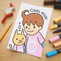 Carl-kun and his cat Tama are adorable mascots from the Carl stationery! He is a 7-year-old boy who dreams of flying around the world. You might find them on the Carl Kuru Kuru Carl-kun Sharpener or on other Carl products. . Created by Diana with Uni Posca Paint Markers (http://to.jetpens.com/2dLqp3E). . Clickable link in Instagram profile! . #instajetpens #inktober #inktober2016 #jetpensforinktober #carlkun #stationeryaddict #uniposca #posca #paintmarker #kawaii #artfriday
