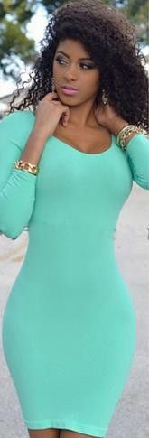Scoop Long Sleeves Bodycon Pure Color Short Dress