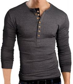 Color Block Button Design Round Neck Long Sleeve Slimming Stylish Polyester T-Shirt For Men
