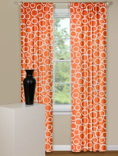 Curtain Panels With Geometric Design in Orange and White