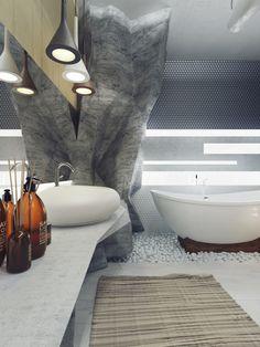 Luxus badezimmer einrichtung  In diesem Luxus Badezimmer werden Felsen imitiert | Bäder Grand ...