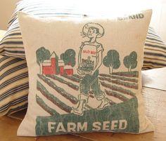 Vintage Feed Sack Pillow Farmer Boy Grain Sack by theprimitivehome