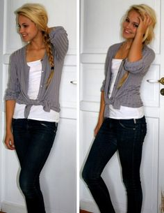 Open button down knotted over a t-shirt. Casual but cute!