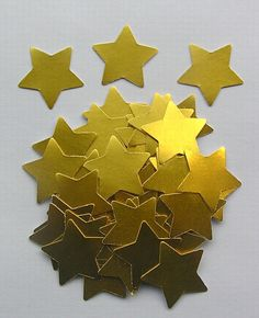 100 Die Cut Stars  Gold by SunnyCollectables on Etsy, £1.50