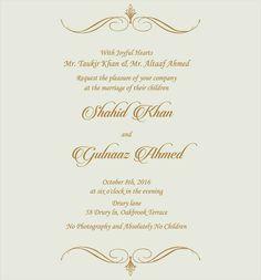 Wedding Invitation Wording For Muslim Ceremony Cards