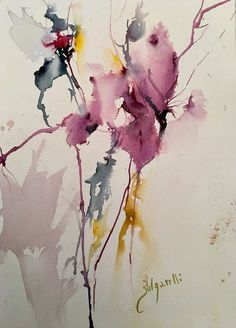 Watercolor Artists, Watercolor Painting Techniques, Abstract Watercolor, Watercolor Illustration, Flower Artwork, Abstract Flowers, Watercolor Flowers, Guache, Abstract Canvas Art