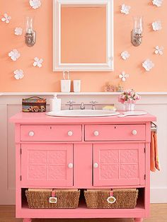 Dresser Do-Over  Furniture-look vanities are all the rage in bathroom design. Before you drop an antique dresser into your neighborhood's garage sale, consider converting it into a bathroom vanity. Give the new vanity a friendly facade by removing the bottom drawers and inserting labeled baskets instead.  See our step-by-step guide for transforming a dresser into a bathroom vanity.