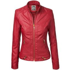 MBJ Womens Panelled Faux Leather Moto Jacket ($45) ❤ liked on Polyvore featuring outerwear, jackets, red motorcycle jacket, vegan motorcycle jacket, red jacket, vegan leather jacket and vegan jackets