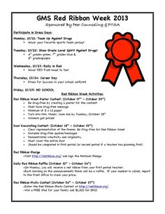 It is Red Ribbon Week. See flyer for activities sponsored by Peer Counseling and PTSA Spirit Day Ideas, Elementary School Counseling, School Counselor, School Spirit Days, Rainbow Quote, Student Leadership, Red Ribbon Week, Safe Schools, School Week
