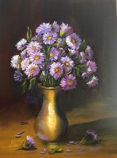 Lila virágok. olaj, farost, 40x30