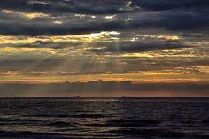 Sonnenuntergang an der Ostsee.  Warnemuende, Rostock, Meck-Pom