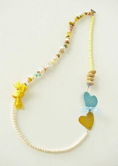 necklace - Xanthippe Tsalimi Bohemian Necklace, Tassel Necklace, Necklaces, Diy Crafts Jewelry, Handmade Jewelry, Watercolor Heart, Funky Jewelry, Statement Jewelry, Pendants
